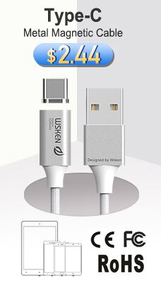 Type-C 1M WSKEN Lite 2 Metal Magnetic Data Transfer and Charging Cable Silver