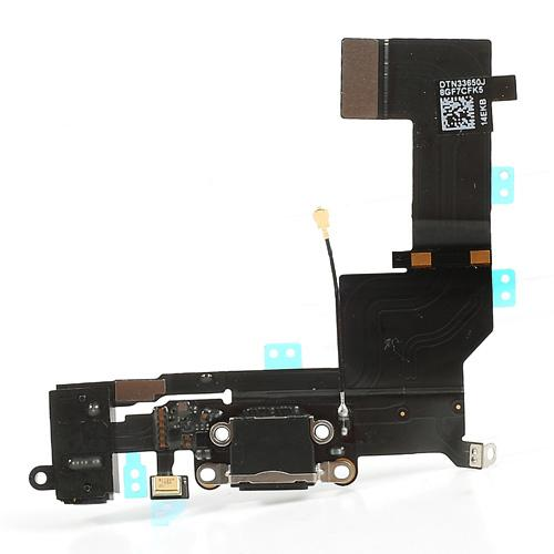 Dock Connector Charging Port and Headphone Jack Flex for iPhone 5S Black